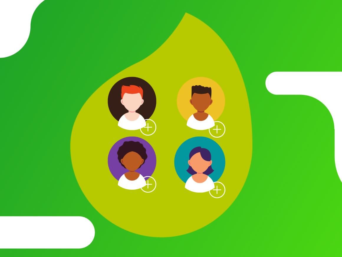 varios-perfis-de-pessoas-com-o-sinal-de-adicionar-em-um-fundo-com-uma-folha-verde-clara-em-um-fundo-verde-escuro-com-branco.png